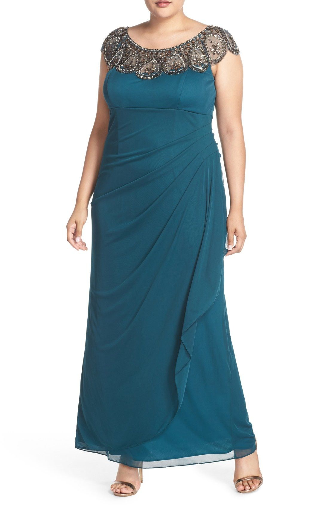 Xscape Beaded Neck Empire Gown (Plus Size in 2019 | Dresses ...