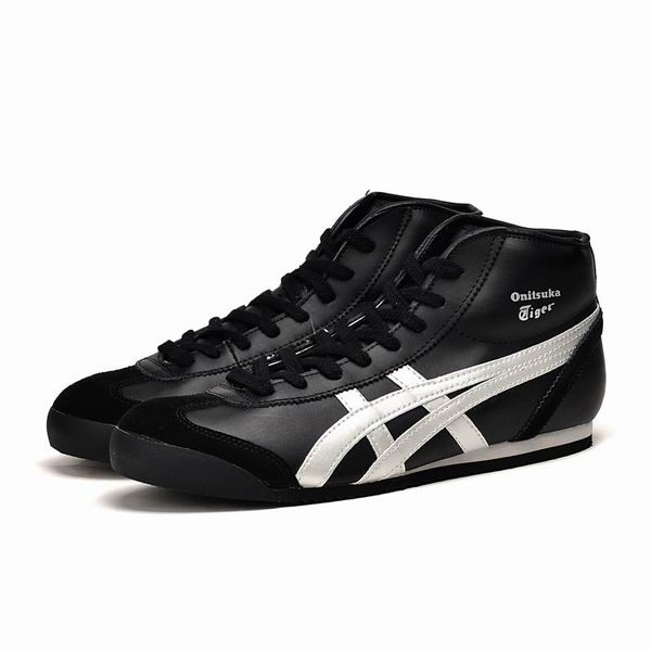newest 462d3 ec4c8 Onitsuka Tiger Mexico Mid Runner Black Silver Leather ...