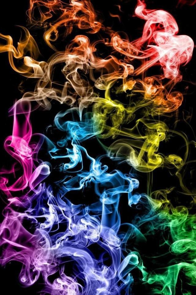 bright colorful smoke filling the iphone screen wallpaper