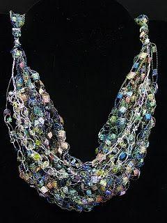 Crocheted Necklace Using Ladder Yarn Tutorial Crochet