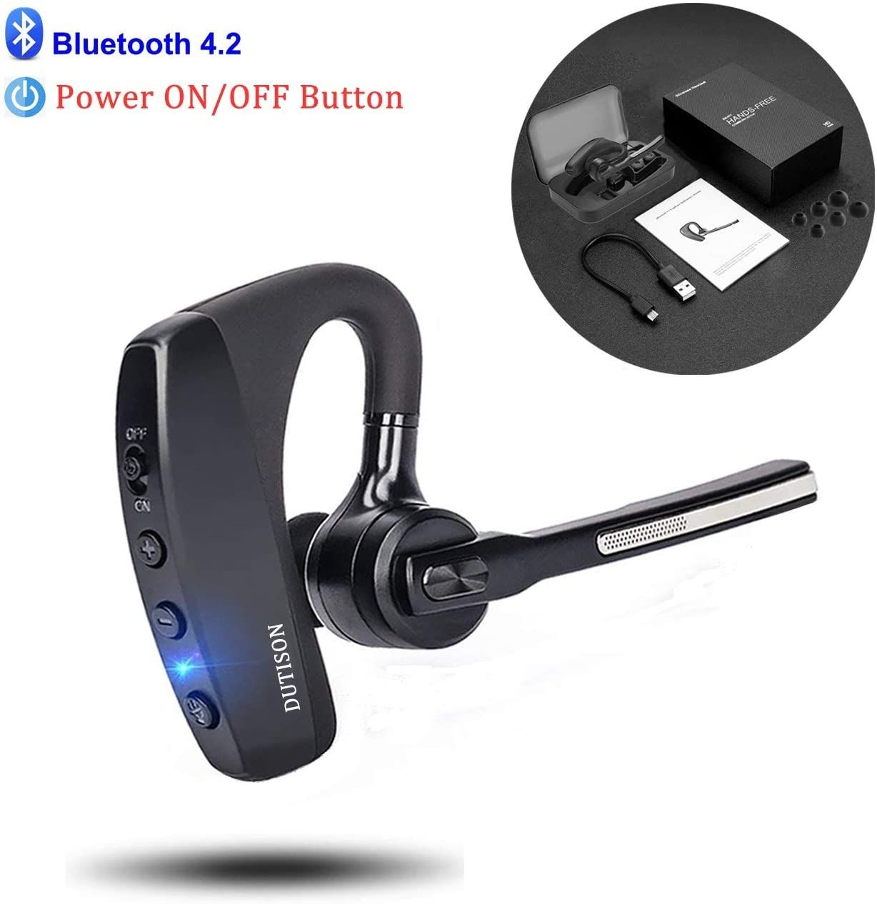 Bluetooth Headset Compatible For Iphone Androiddutison Single Ear Hands Free Earpiece With Dual Mic Amazon Affiliate Link In 2020 Bluetooth Headset Headset Earpiece