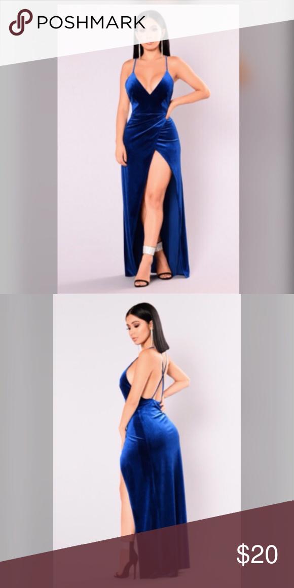 58294a71c46 Velvet long dress Royal blue velvet long dress w  split. Fashion Nova  Dresses Maxi