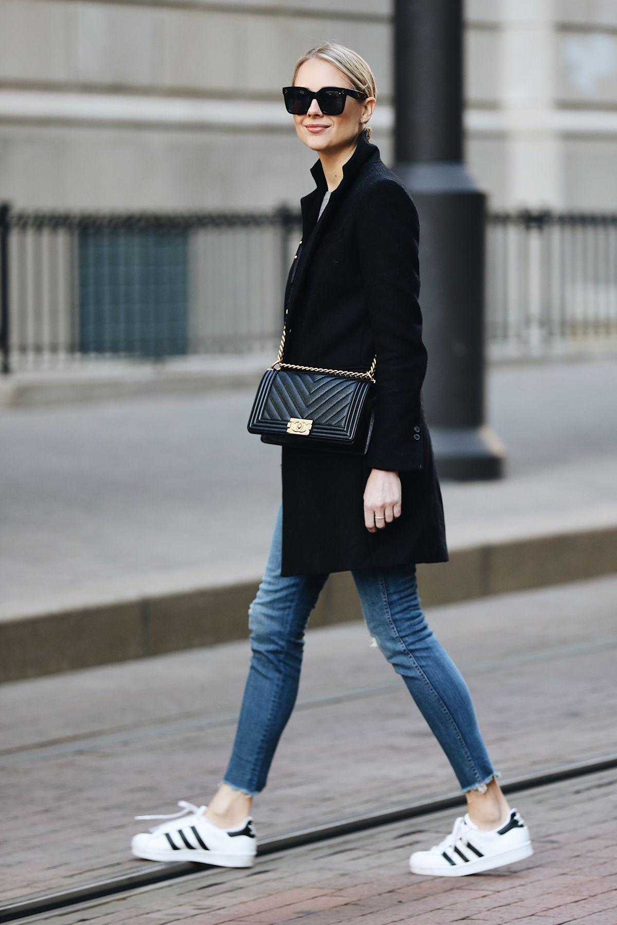 brand new a8c05 68b36 Blonde Woman Wearing Zara Black Wool Coat Grey Sweater Madewell Denim Jeans adidas  superstar sneakers Chanel Black Boy Bag Fashion Jackson Dallas Blogger ...