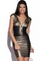 Black Gold Foil Print Celeb Bandage Dress