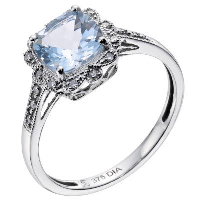 81558379a5e6d 9ct white gold vintage style diamond & aquamarine ring in 2019 ...