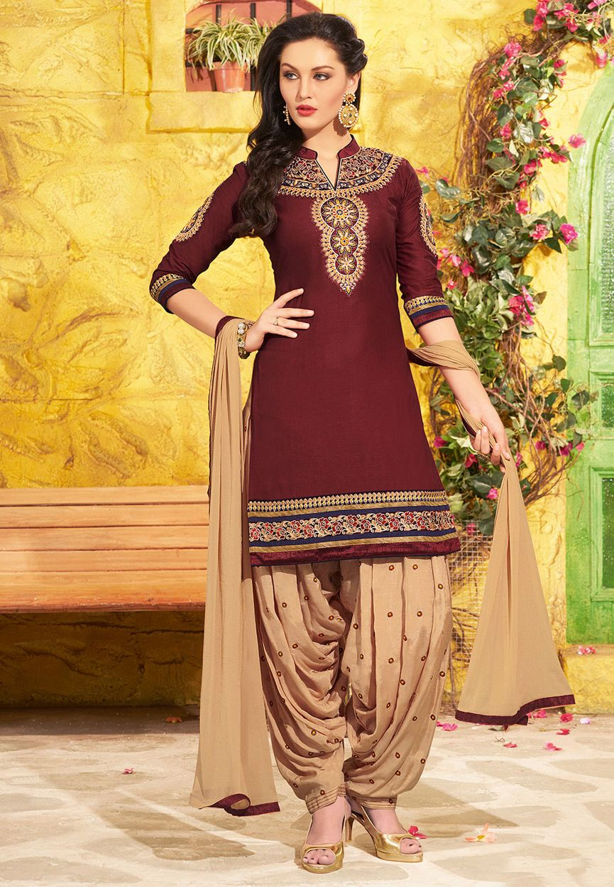 918ca19e0d Buy Maroon Poly Cotton Kameez with Patiala online, work: Embroidered, color:  Maroon, usage: Festival, category: Salwar Kameez, fabric: Cotton Poly, ...