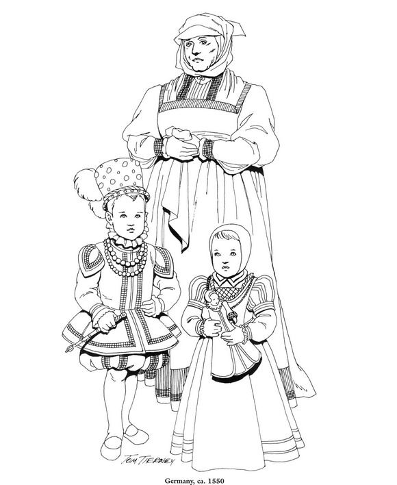 coloring page Clothing of the Renaissance Kids-n-Fun | Cool ...