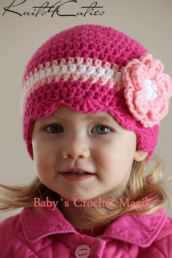 Fuchsia color beanie hat with flower for girl  612c91c0af0