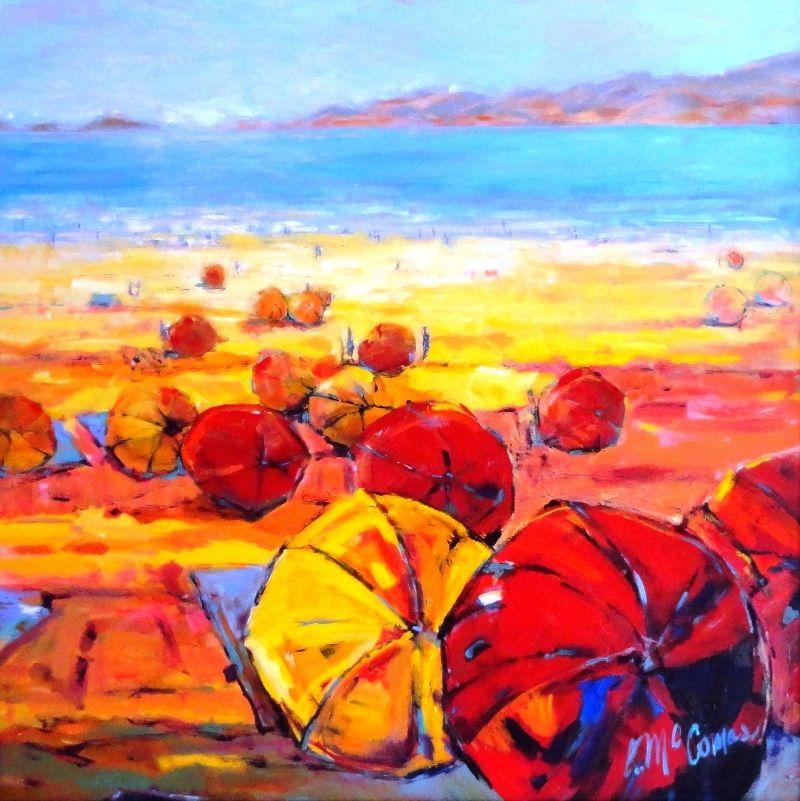 Art Name Umbrella Afternoon Art Genre Landscape Artist Name Anita Mccomas Schilderij Lucht Boten