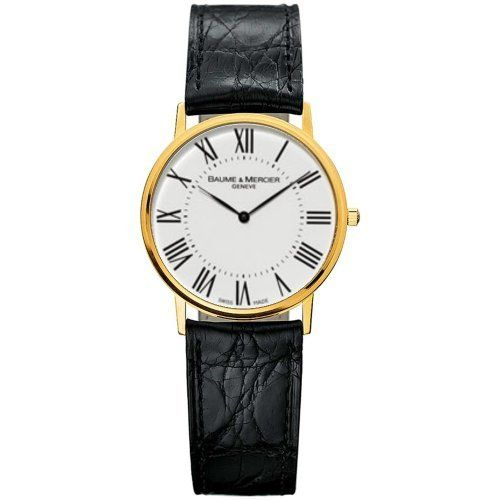 Baume & Mercier Men's 8070 Classima Yellow-Gold Watch Baume & Mercier. $2500.00. Case diameter: 31.8 mm. Scratch-resistant-sapphire crystal. Yellow-gold case; White dial. Water-resistant to 99 feet (30 M). Precise Swiss-Quartz movement