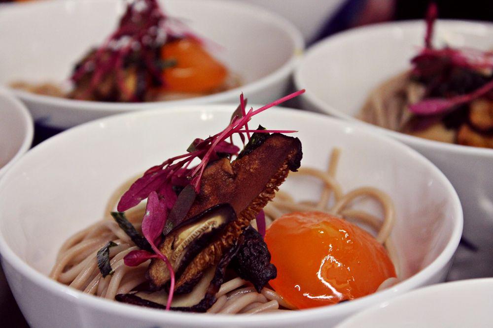 Makoto Supperclub - soba noodles, cured egg yolk, roasted shiitake & ponzu dressing