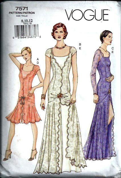 Gorgeous OOP Art Deco Dress Pattern, Vogue 7571, Size 8-10-12, UNCUT/FF