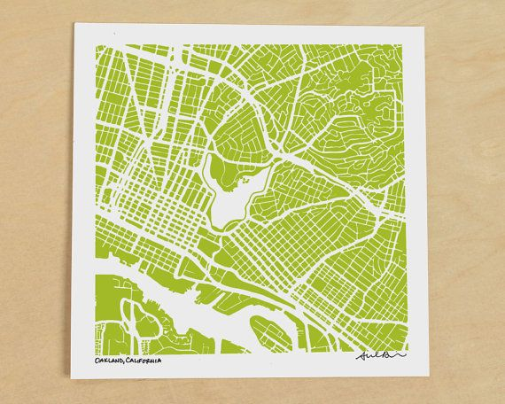 Oakland Map Print Ink Drawing Oakland Map California Print MAPS