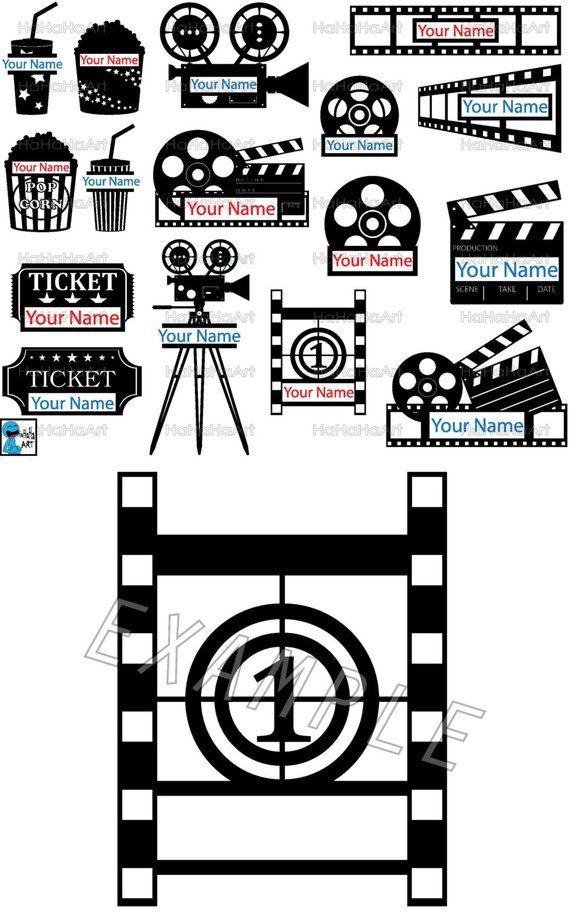 Split Cinema Monogram Cutting Files Svg Png Jpg Eps Dxf Digital