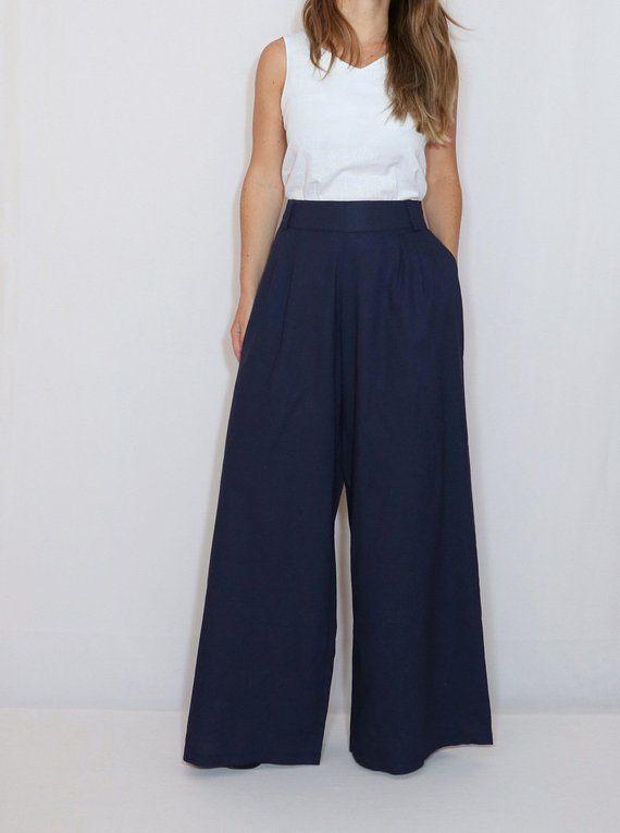 27de7cc391b Navy blue linen pants Wide leg pants Pants with pockets Linen clothing  Office wear