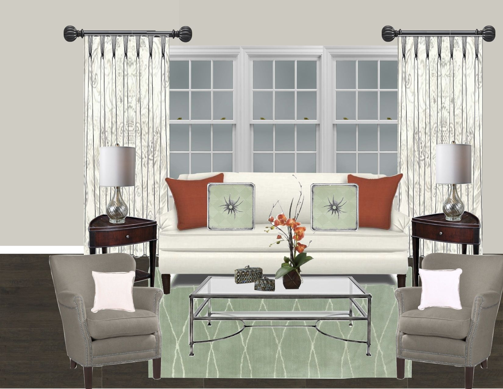 Living Room Concept Color Palette Of Grey Taupe Ivory Celadon - Taupe living room