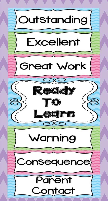 Chevron Behavior Clip Chart Classroom Decor Classroom Organization