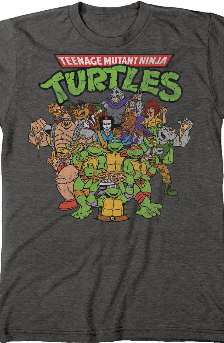 381c78fb96d Ninja Turtles Cast T-Shirt  80s Cartoons TMNT Mens T-Shirt