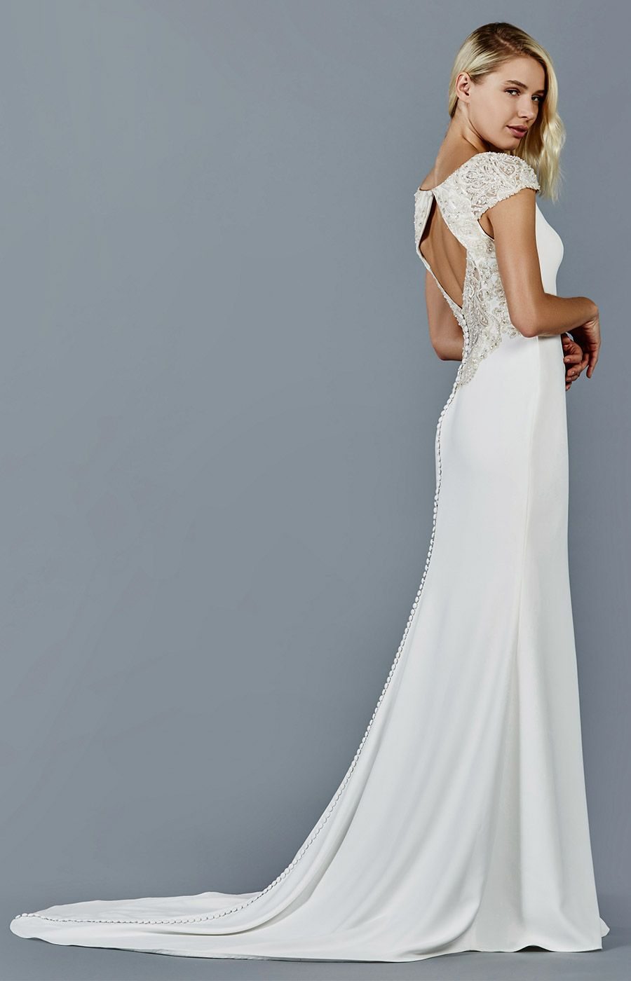 Back detail wedding dress  SOL wedding dress by Kelly Faetanini  Gorgeous train and open back