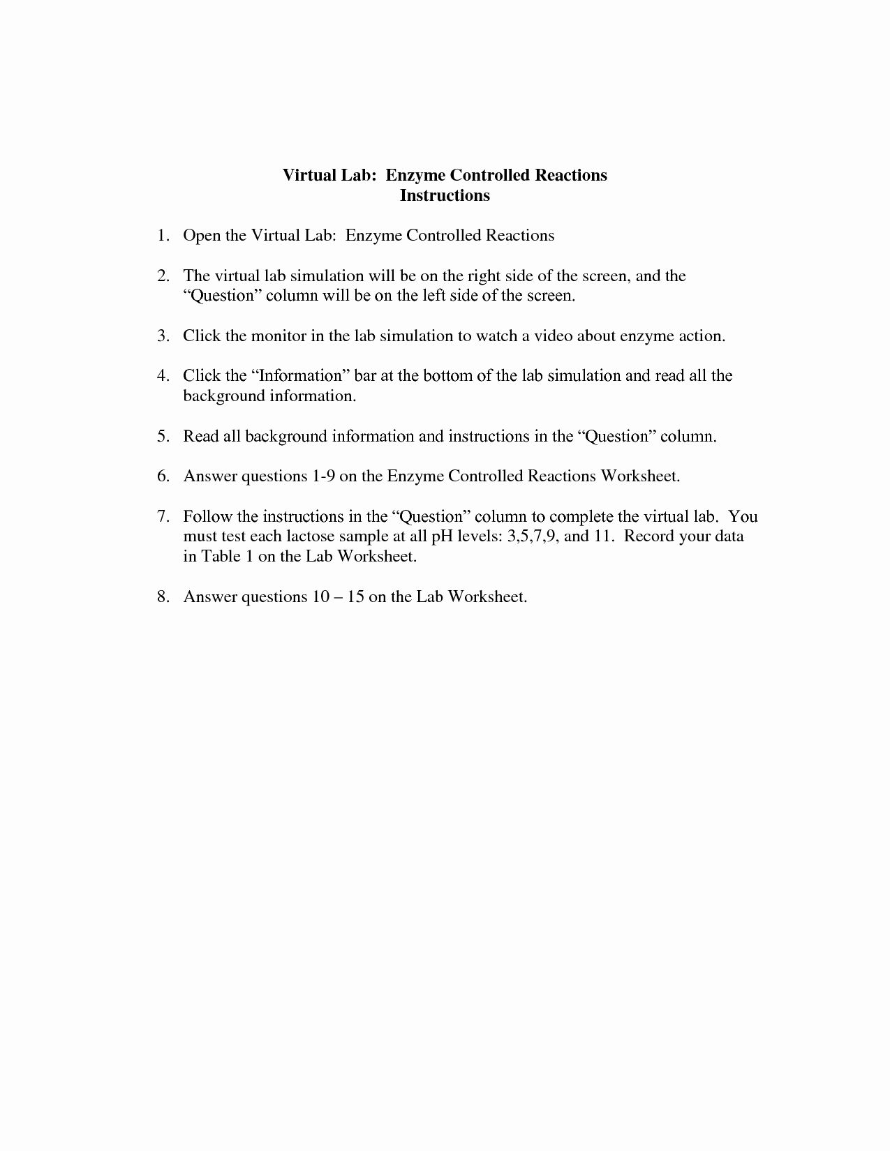 Enzyme Reactions Worksheet Answer Key Unique 15 Best Of