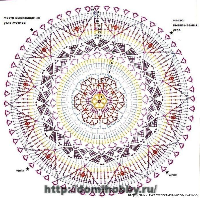 кк3 (700x695, 428Kb) | mandala | Pinterest | Mandalas, Manta y Girasoles