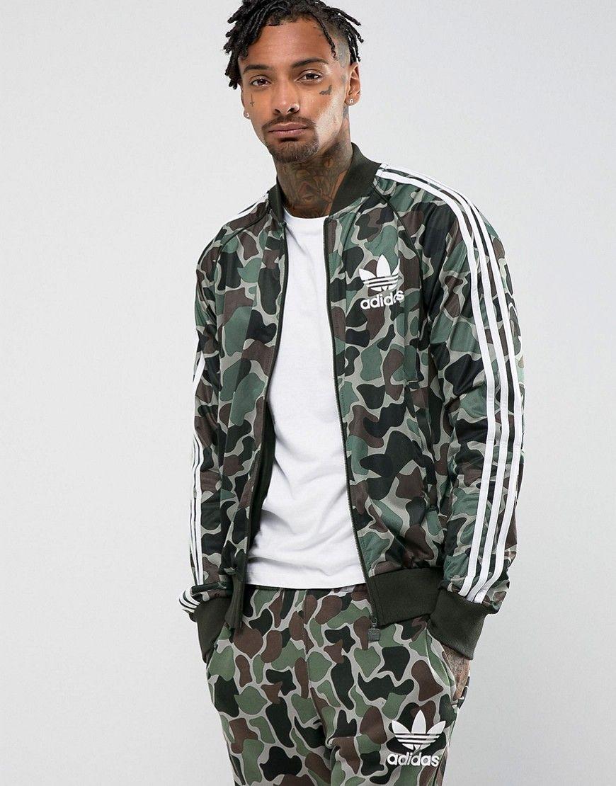 adidas Originals Superstar Camo Track Jacket In Green CD9303