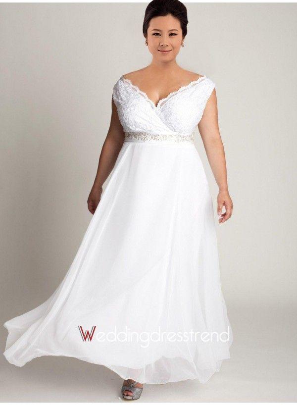 Beautiful Simple Off-the-shoulder Chiffon Plus Size Wedding Dress ...