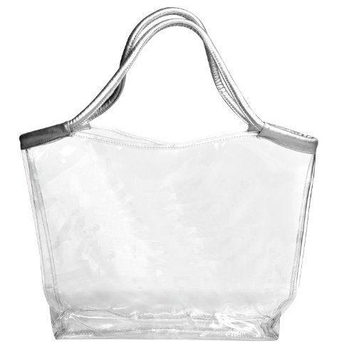 Large Clear Tote Bag with Silver Handles Clear Handbags & More ...