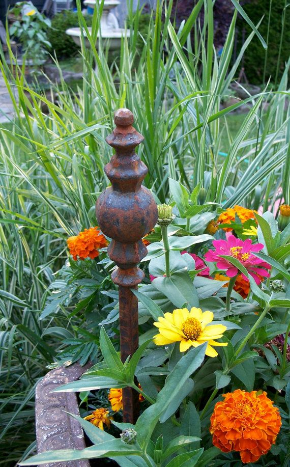 Steel Garden Stake Rusty Garden Decor Steel Hose By MiscKDesigns