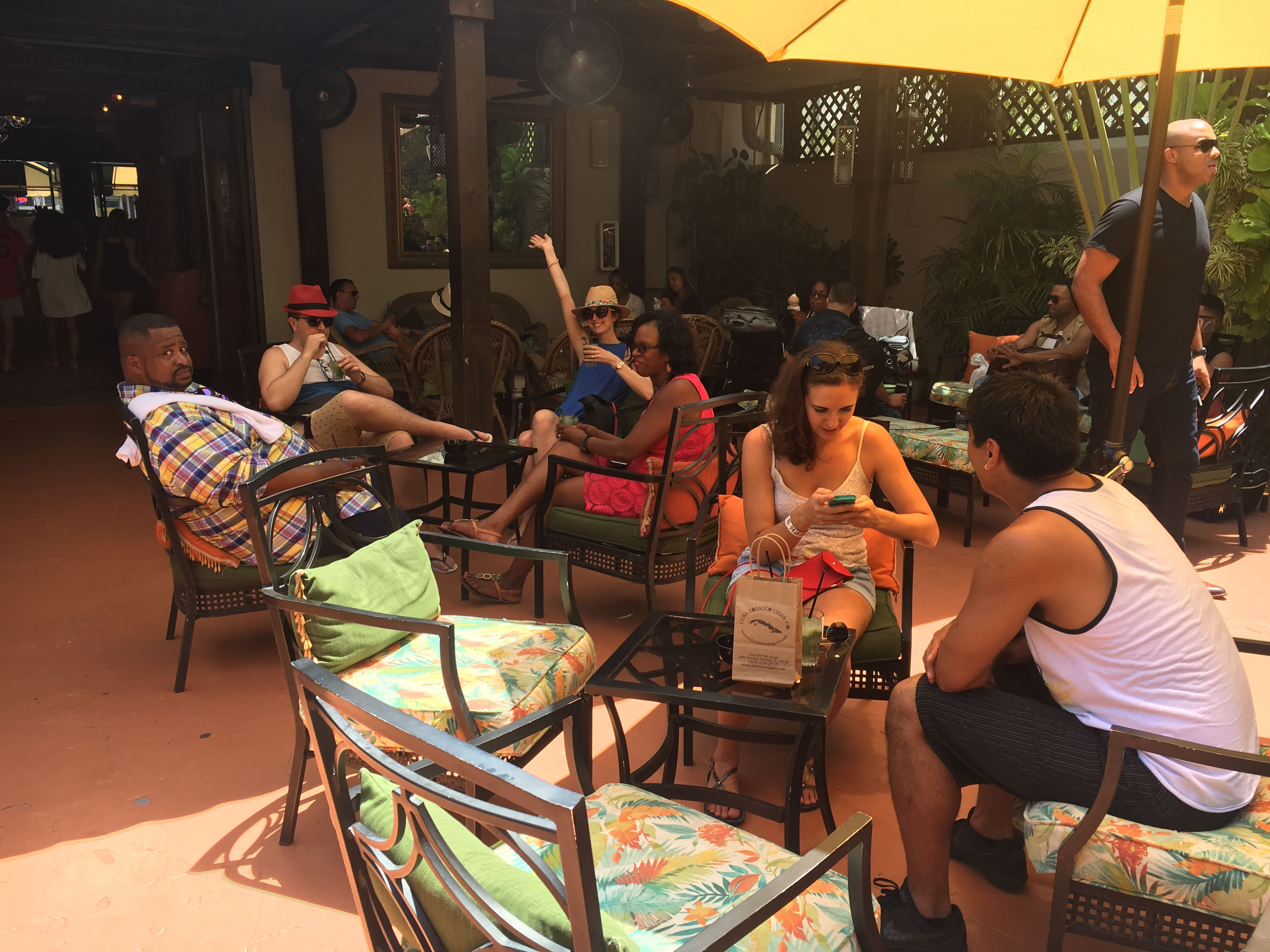 Enjoying outdoors with mojito at Ball and Chain on 5/29/2017 Little Havana public lunch tour