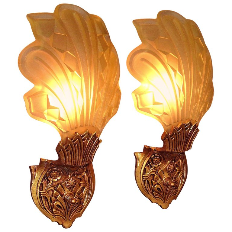 2 Pair Of 1920s Early 1930s Art Deco Sconces Wall Deco Art Deco Lighting Vintage Wall Lights
