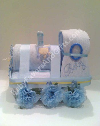 Train diaper cake for boy, unique baby shower gift