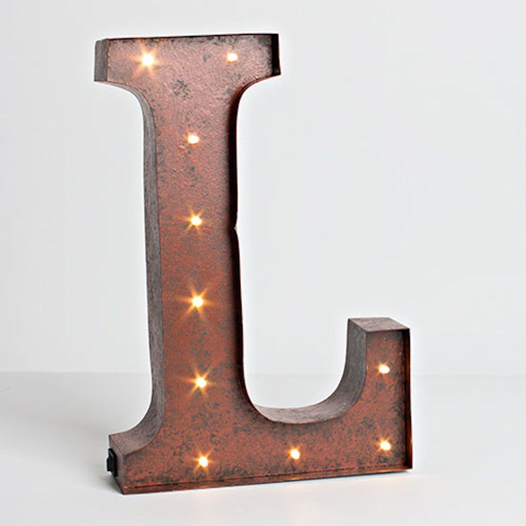 "Letter L Wall Decor 12""  Rustic Brown  Metal  Battery Operated  Led  Lighted"