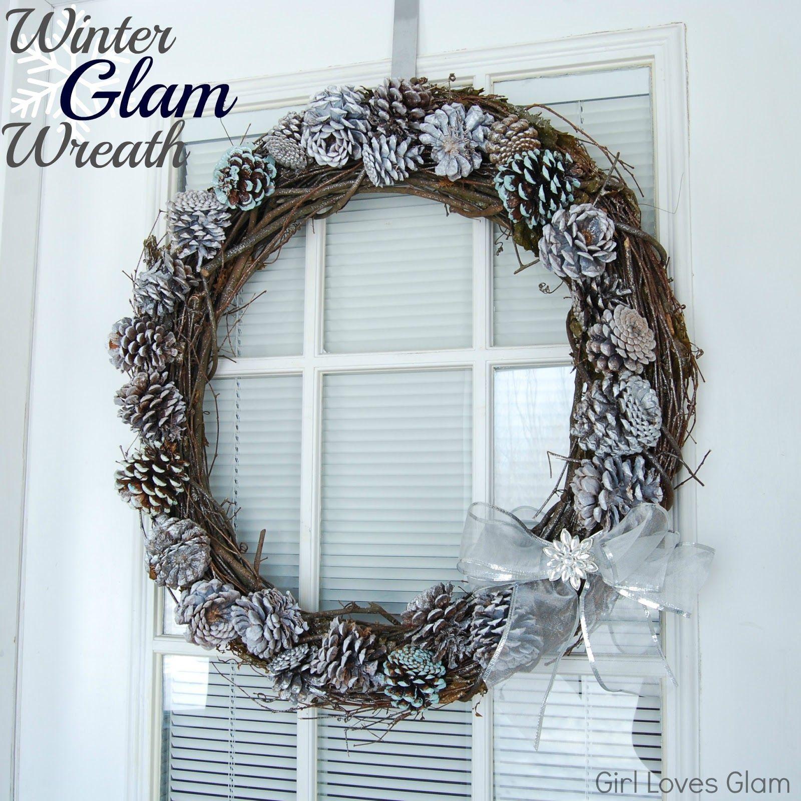 Winter Glam Pine Cone Wreath Tutorial #winter #diy #decor