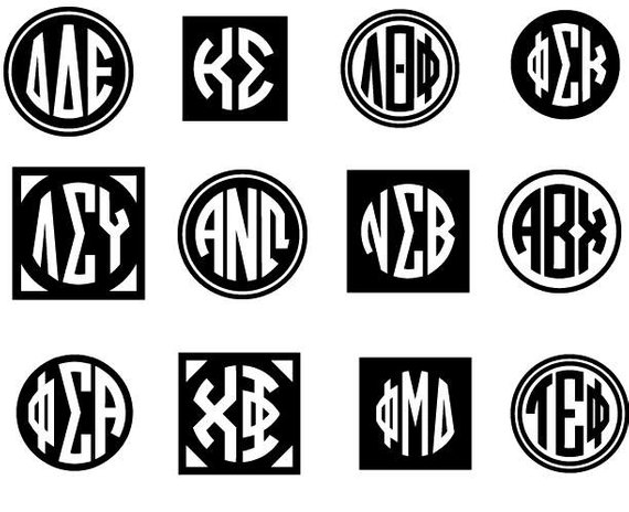 Greek Alphabet Circle monogram font SVG Cut Files Instant Download