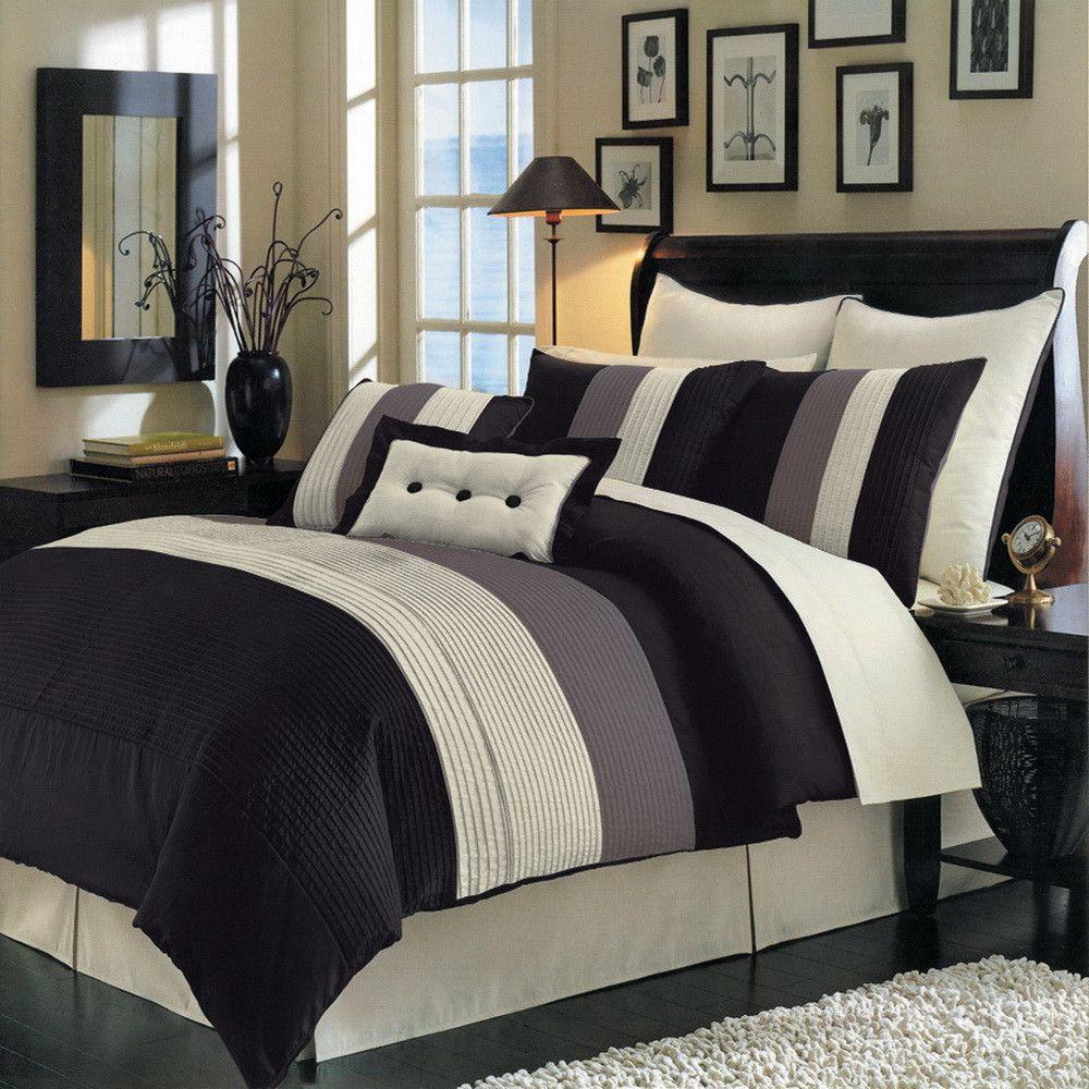8pc Modern Color Block Black Ivory Comforter Set Brown Comforter