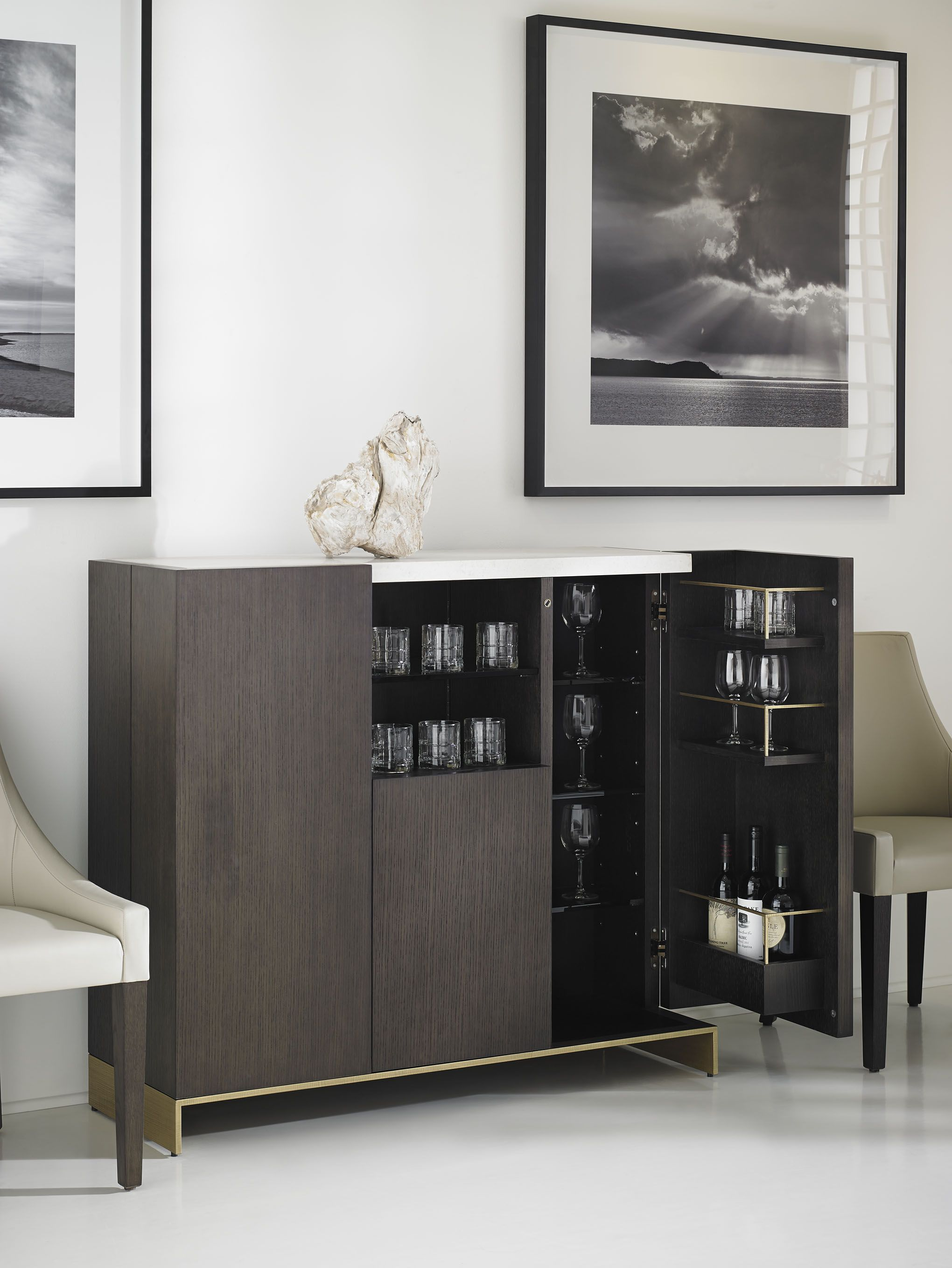 193005 // Objets Bar Cabinet Rift Cut Oak with Marble Top and Bronze Base