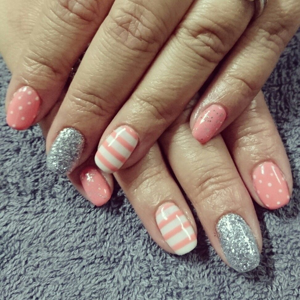 Peach Nails with white polka dots and stripes and silver glitter ...