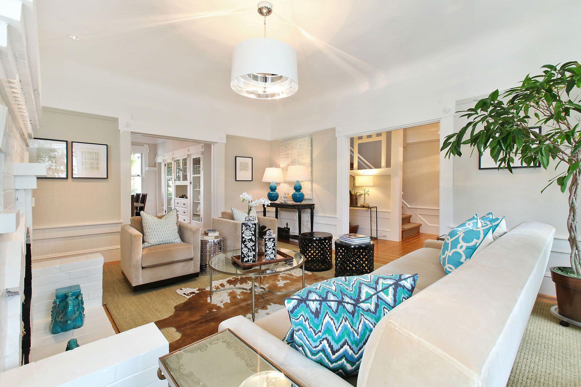 Living Room Neutrals Aqua