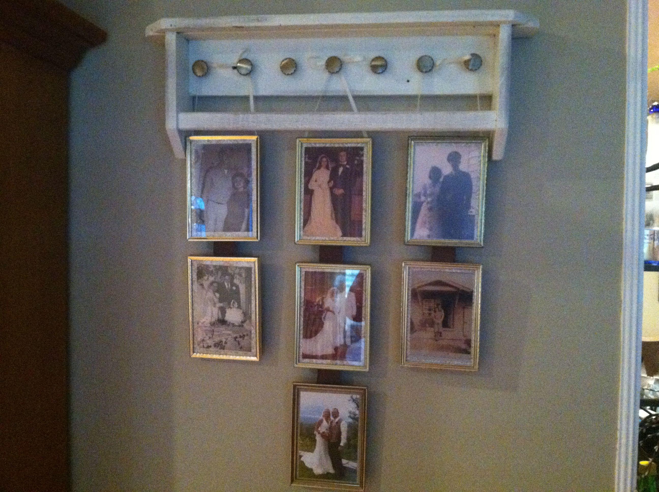 DIY family wedding photo display