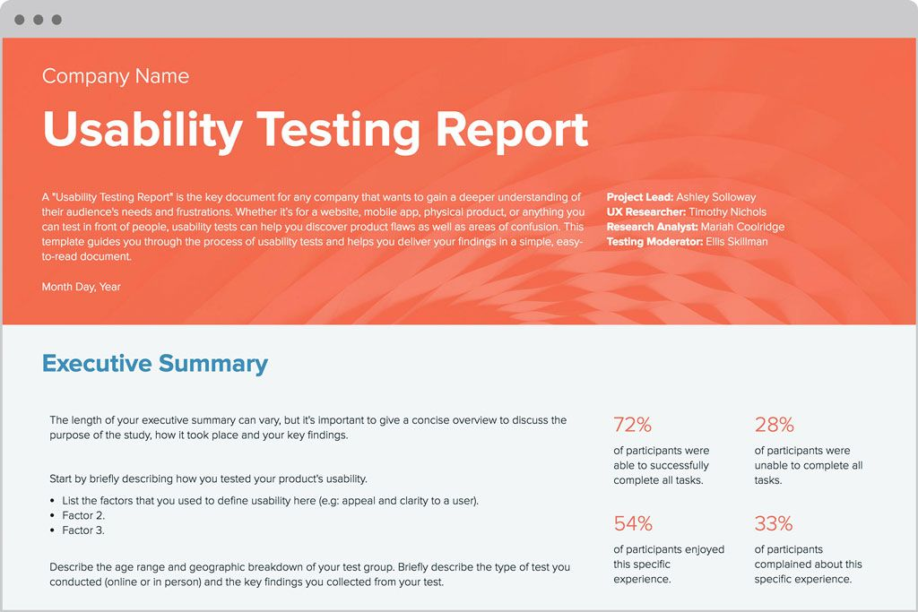 Usability Testing Report Template by Xtensio (Itu0027s free - executive report template