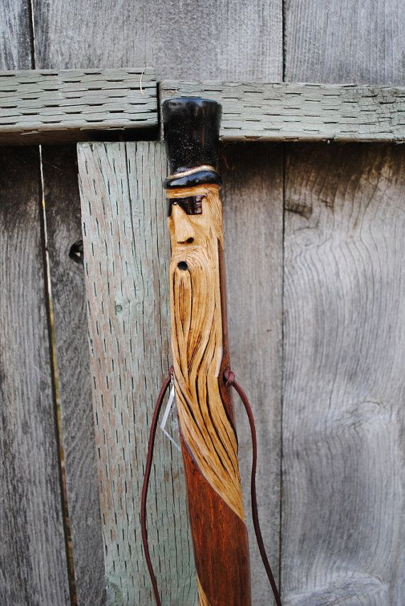 """ROCK STAR"" - hand-carved walking stick made of persimmon wood"