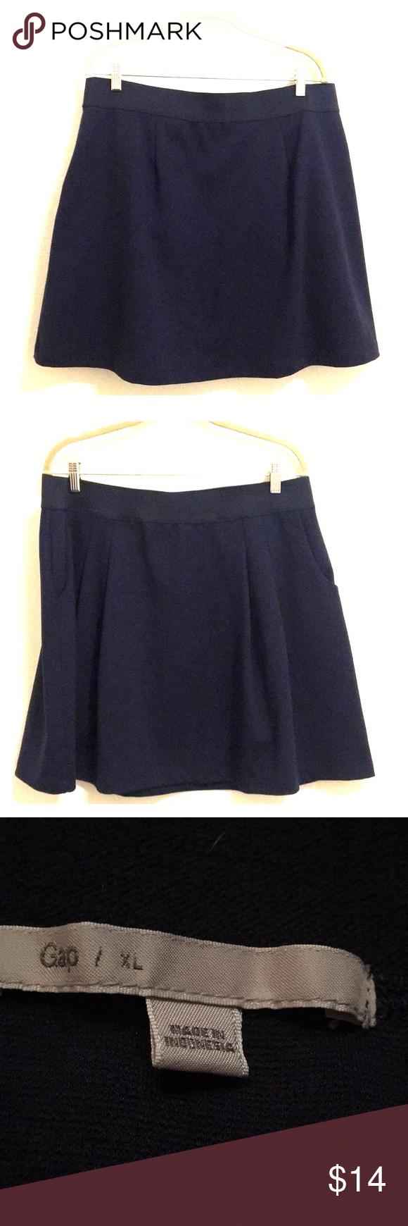 "fa66ac8c3 Gap Knit Stretch Skate Skirt with pockets indigo 18"" flat across waist 19""  in length Pockets Circle skirt GAP Skirts Circle & Skater"