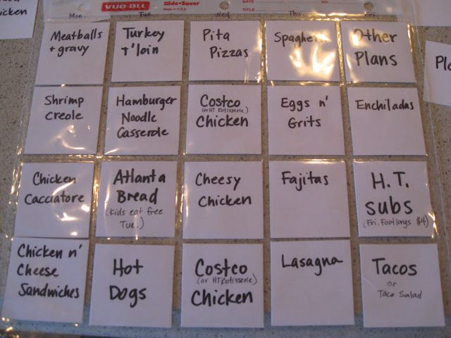 """Favorite meal planner. With ingredients on the back for grocery shopping list.  I only plan 5 meals a week anyway...leftovers on Sunday and """"date night - one on one interview with mom or dad"""" (the rest of the family gets take out or delivery) on Friday."""