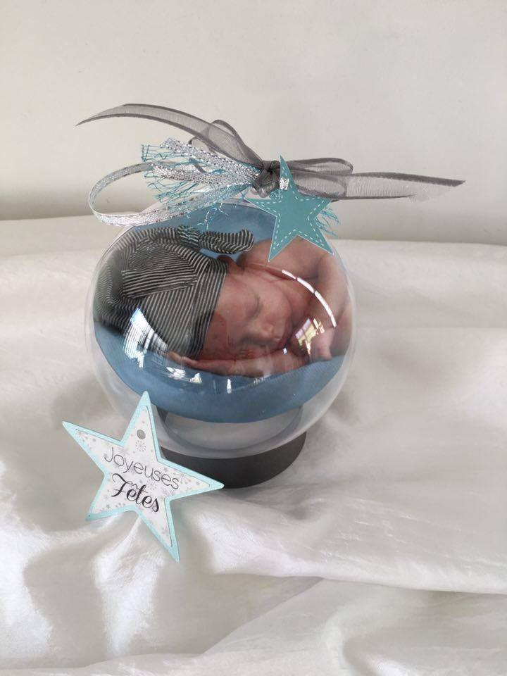 Boule de Noël transparent 10cm ''mon premier Noël'' avec photo et