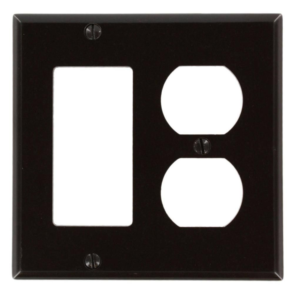 Leviton Brown 2 Gang 1 Decorator Rocker 1 Duplex Wall Plate 1 Pack 80455 Plates On Wall Light Switch Covers Home Depot
