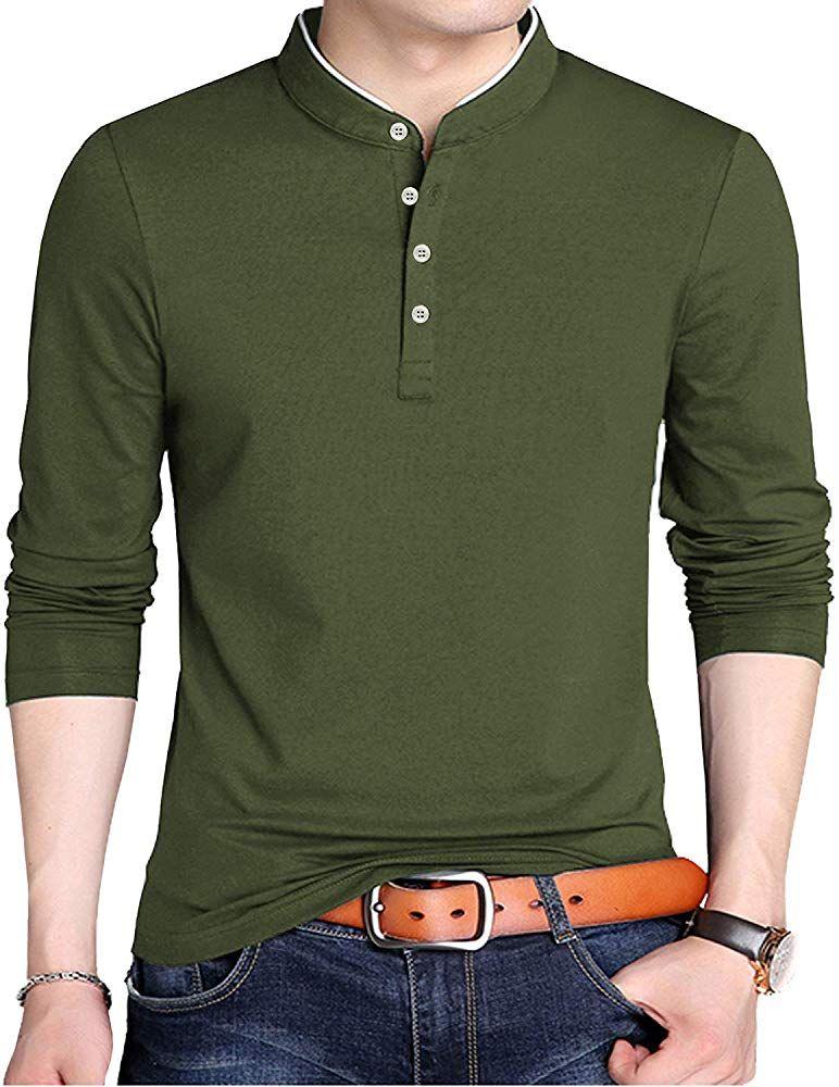 Kuyigo mens casual slim fit shirts long sleeve polo