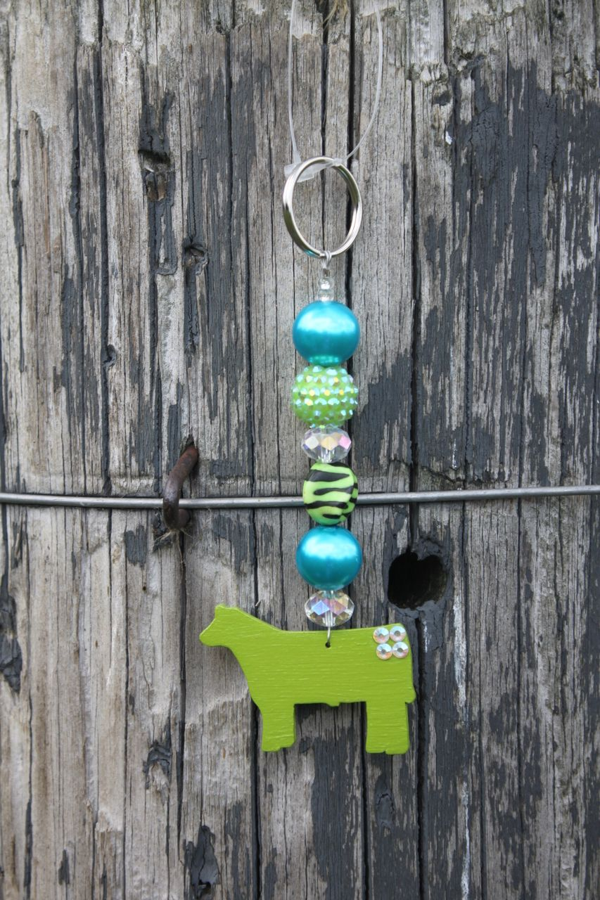 Sass N' Stones - Turquoise and Lime Green Zebra with Lime Green Steer Key Chain, $12.95 (http://sass-n--stones.mybigcommerce.com/turquoise-and-lime-green-zebra-with-lime-green-steer-key-chain/)
