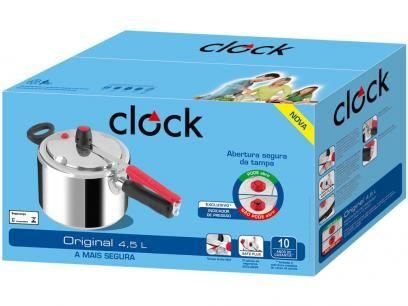 Panela De Pressao Clock Original Polida Aluminio 4 5l Com As