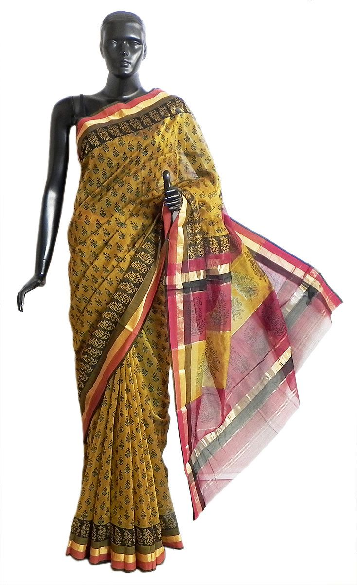 e3889453ac Bagh Print Maheshwari Cotton Silk Saree with Border and Pallu (Cotton Silk)